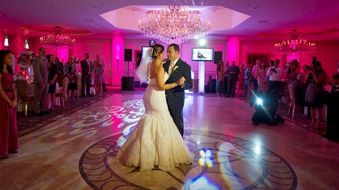 Bride & Groom Dancing with Uplighting